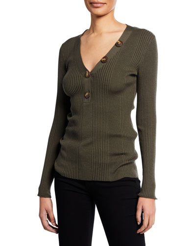 V-Neck Long-Sleeve Rib-Knit Sweater w/ Button Details