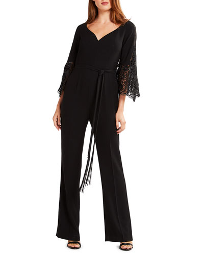 Tina Lace Bell-Sleeve Straight-Leg Jumpsuit with Self-Tie Belt