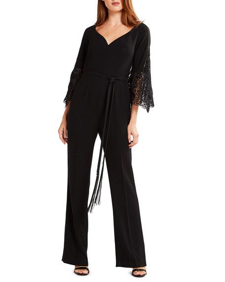 Elie Tahari Tina Lace Bell-Sleeve Straight-Leg Jumpsuit with
