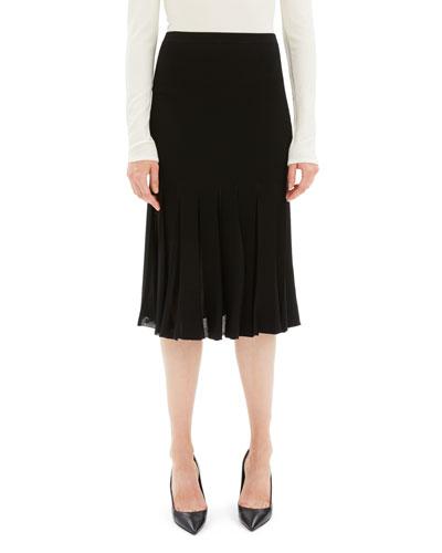 Pleated Viscose Knee-Length Skirt