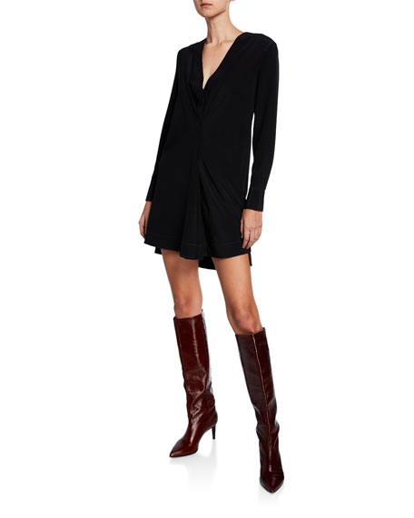 Rag & Bone Shields V-Neck Long-Sleeve Silk Dress