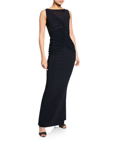 Saoirse Illusion Bateau-Neck Sleeveless Column Gown