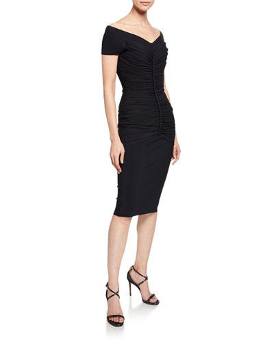 Shushana V-Neck Cap-Sleeve Shirred Body-Con Dress