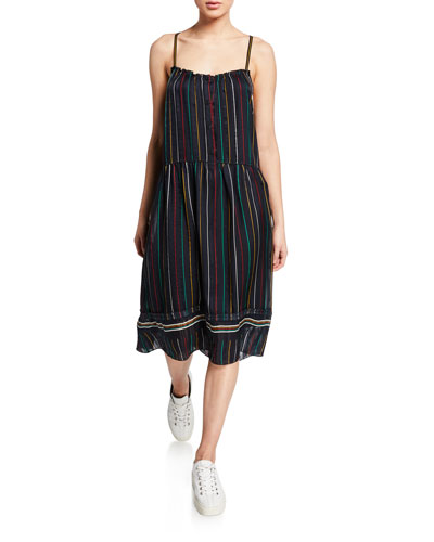Austin Striped Button-Front Sleeveless Dress