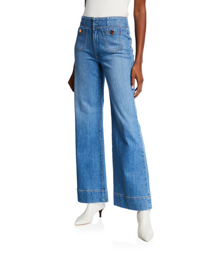 Gorgeous Wide-Leg Jeans with Patch Pockets