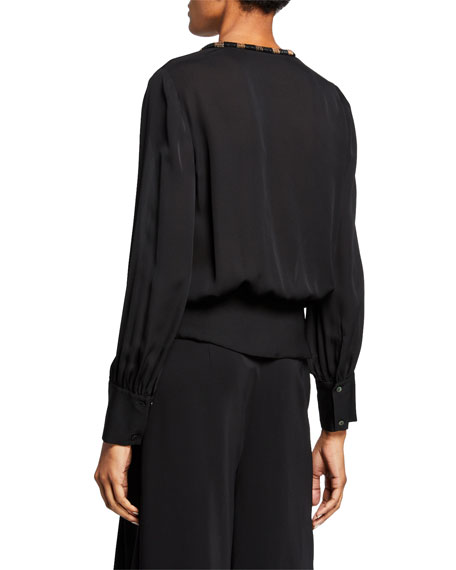f59d5fc79ecfb Kobi Halperin Holly Embellished Collar Long-Sleeve Silk Blouse w ...