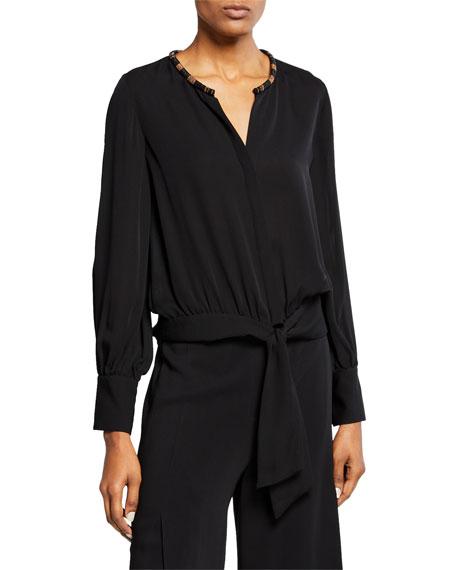 Kobi Halperin Holly Embellished Collar Long-Sleeve Silk Blouse