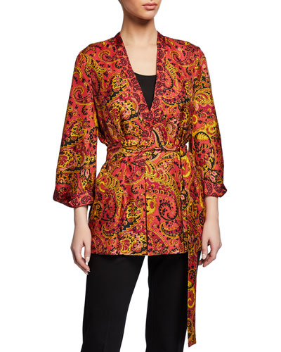 Josephine Paisley-Printed Silk Jacket