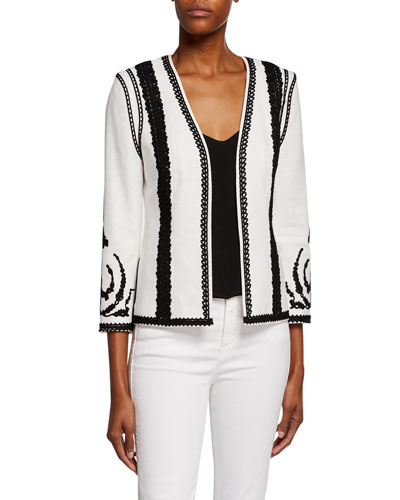 Camila Embroidered Open-Front Jacket