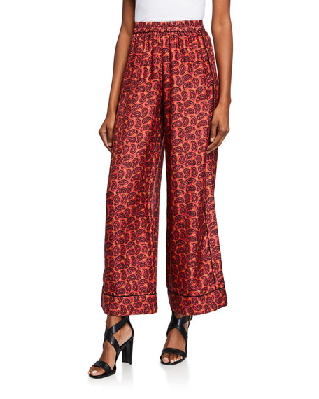 Eliza Printed Wide-Leg Pull-On Pants