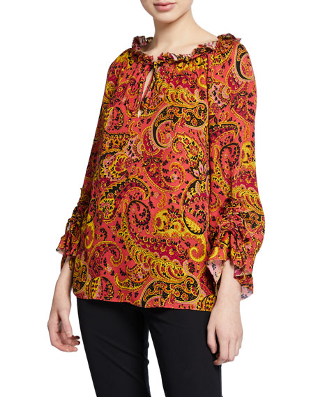 Gia Paisley-Print Long-Sleeve Silk Peasant Blouse