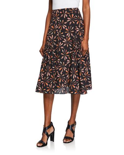 Debbie Printed Silk A-Line Skirt