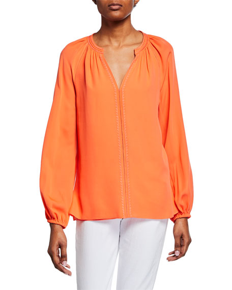Kobi Halperin Kirna V-Neck Long-Sleeve Silk Blouse