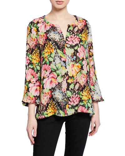 Laura Floral-Print Split-Neck Silk Blouse