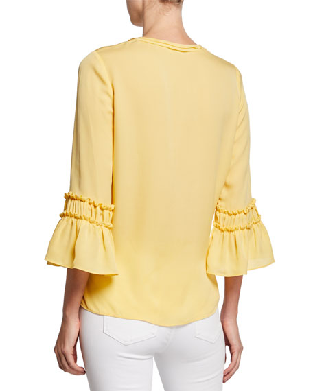 Kyle 3/4-Sleeve Silk Blouse