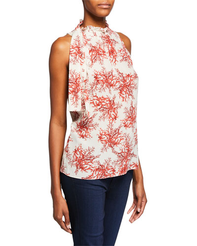 Maxi Coral-Print Mock-Neck Sleeveless Blouse
