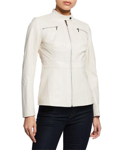 Sage Zip-Front Leather Moto Jacket