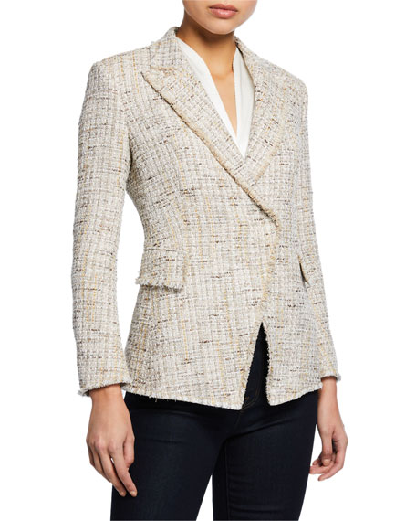 Elie Tahari Jezebel Button-Front Tweed Jacket