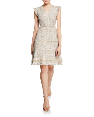 Loraine V-Neck Short-Sleeve Tweed Dress