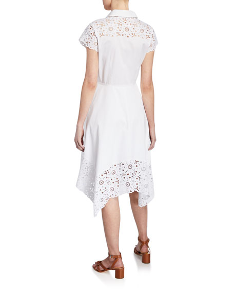 Jane Button-Down Cap-Sleeve Shirtdress with Floral Lace