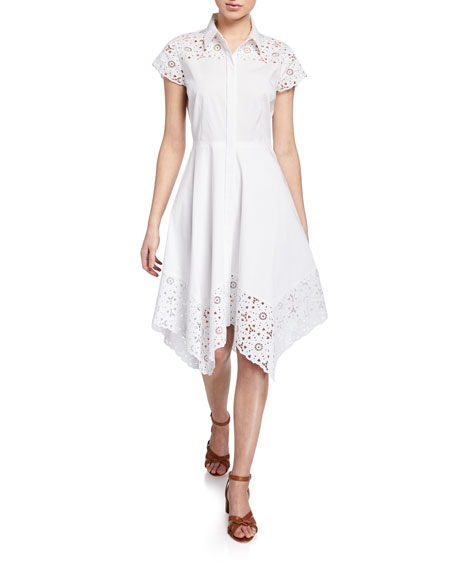 Elie Tahari Jane Button-Down Cap-Sleeve Shirtdress with Floral