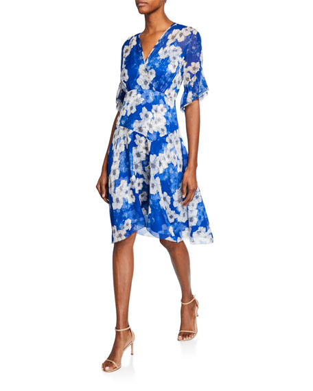Elie Tahari Ava Floral-Print Surplice Short-Sleeve Silk Dress