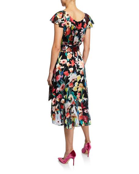 Ryder Floral-Print V-Neck Cap-Sleeve Dress