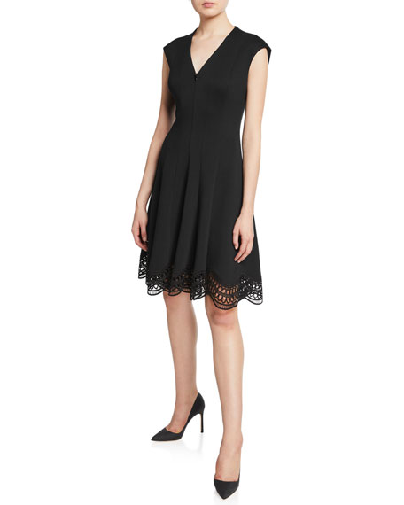 Elie Tahari Heidi Zip-Front Cap-Sleeve Lace-Hem Dress