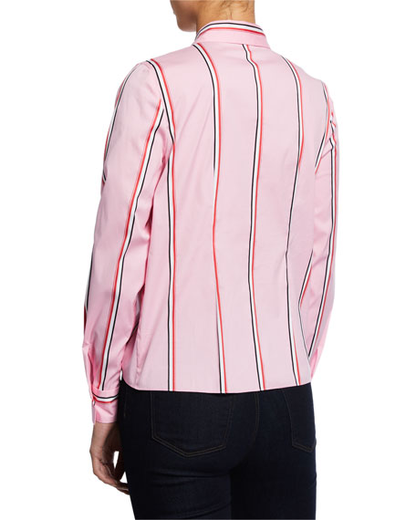4ce456ff4936 Elie Tahari Katarina Striped Button-Down Tie-Hem Shirt