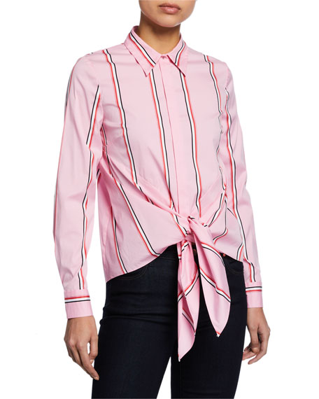 Elie Tahari Katarina Striped Button-Down Tie-Hem Shirt