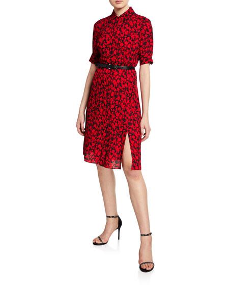 Elie Tahari Aisha Floral-Print Short-Sleeve Belted Dress