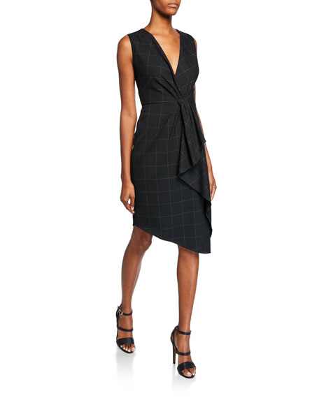 Elie Tahari Adrianne V-Neck Sleeveless Asymmetric Grid Dress