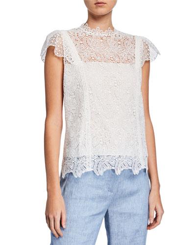 Zandaya Cap-Sleeve Lace Blouse