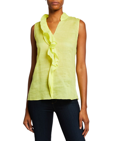 Elie Tahari Adreena Sleeveless Ruffle Blouse