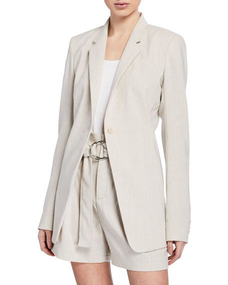 Image 1 of 1: Hillary One-Button Linen Jacket