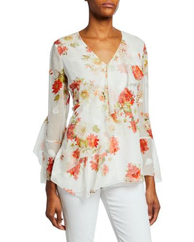 3b0168e9846d0 Promotion Eda Floral-Print V-Neck Bracelet-Sleeve Ruffle Blouse
