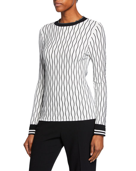 Emile Wave-Stripe Long-Sleeve Sweater w/ Contrast Trim