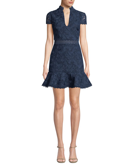 Diona Mandarin-Collar Fit-&-Flare Dress