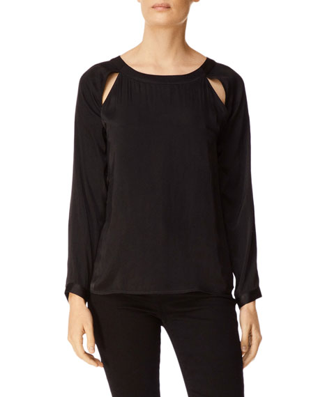 J Brand Emilia Long-Sleeve Twist-Back Top