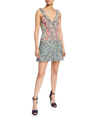 3abd483bfa78e Amy Sleeveless Silk Short Dress Multi