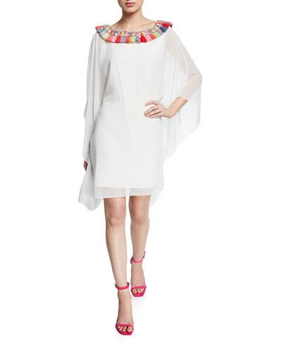 Tassel-Neck Embellished Draped-Sleeve Caftan Dress