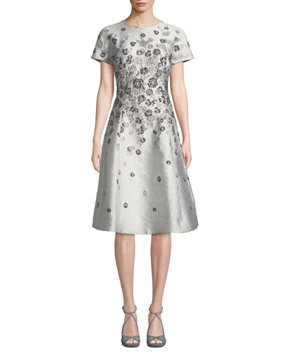 7143821998b Short-Sleeve 3D Floral-Embroidered Jacquard A-Line Dress Quick Look. Rickie  Freeman for Teri Jon
