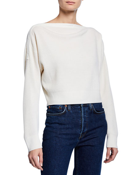 Cropped Boat-Neck Wool Sweater w/ Snaps