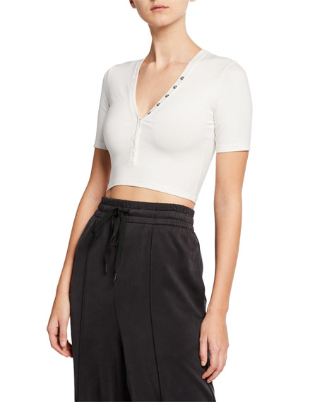alexanderwang.t V-Neck Snap-Front Short-Sleeve Cropped Jersey Top
