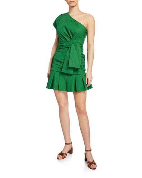 Derek Lam 10 Crosby Dresses ONE-SHOULDER GATHERED COTTON SHORT DRESS