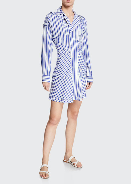Derek Lam 10 Crosby Dresses STRIPED TIE-FRONT SHIRT DRESS