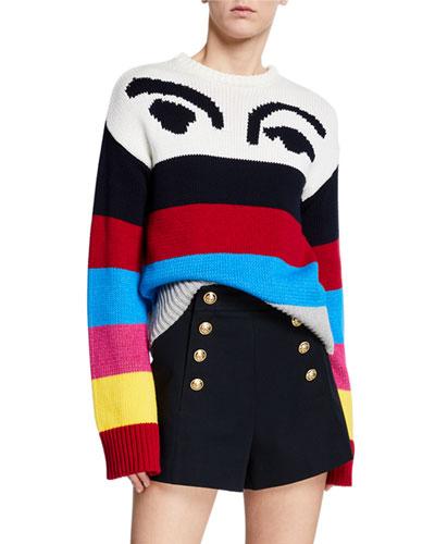 Striped Graphic Crewneck Pullover Sweater