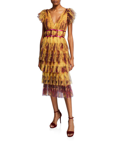 b8b417baa5 Floral-Print Flutter-Sleeve Pleated Cocktail Dress w  Tiered Skirt Quick  Look. Marchesa Notte