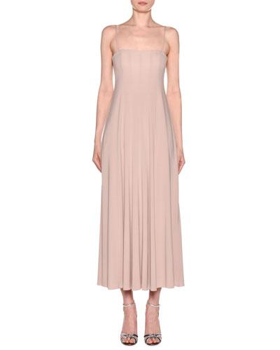 Square-Neck Matte Jersey Maxi Dress