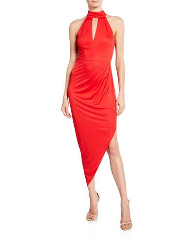 Jana Keyhole Halter Dress w/ Asymmetric Shirred Skirt